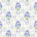 Floral seamless pattern , cute cartoon blue flowers white background.