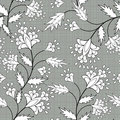 Floral seamless pattern cute cartoon flowers gray specks background in retro style Stock Photo