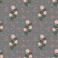 Floral seamless pattern, cute cartoon flowers grey background in specks Royalty Free Stock Photo