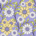 Floral seamless pattern , cute cartoon  flowers purple background Royalty Free Stock Photo