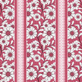 Floral seamless pattern , cute cartoon flowers red background striped Royalty Free Stock Photo