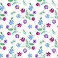 Seamless floral pattern ,cute flowers on white background, striped,