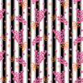Floral seamless pattern, cute cartoon pink flowers white background