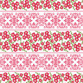 Floral seamless pattern , cute cartoon red flowers white background.