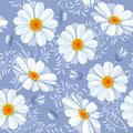 Floral seamless pattern daisy retro flower vector easy to edit Royalty Free Stock Image
