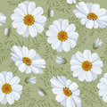 Floral seamless pattern daisy retro flower vector easy to edit Stock Photography