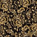 Floral seamless pattern decorative style Hohloma gold