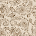 Floral seamless pattern with doodle flowers and paisley Royalty Free Stock Image