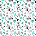 Floral seamless pattern drawn by hand. Graphic vector floral pattern in black and white, blue, green colors. Minimalistic, simple