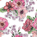 Floral seamless pattern. Flower bouquet background. Royalty Free Stock Photo