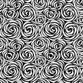 Floral seamless pattern with flower rose. Abstract swirl line background Royalty Free Stock Photo