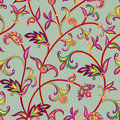Floral seamless pattern. Flower swirl background. Arabic ornament with fantastic flowers and leaves. Royalty Free Stock Photo