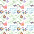 Floral seamless pattern with flowers bird hearts and butterfly vector illustration for your lovely design endless funny Royalty Free Stock Photography