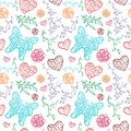 Floral seamless pattern with flowers hearts and butterfly vector illustration for your lovely design endless funny spring Royalty Free Stock Photography