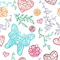 Floral seamless pattern with flowers hearts and butterfly vector illustration for your lovely design endless funny spring Stock Image