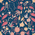 Floral seamless pattern with flowers and plants in dark background. tropical vector illustration. Royalty Free Stock Photo
