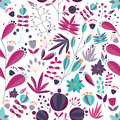 Floral seamless pattern with flowers and plants in white background. tropical colorful vector illustration.