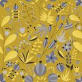 Floral seamless pattern with flowers and plants in yellow background. tropical vector illustration. Royalty Free Stock Photo