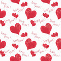 Floral seamless pattern flowers red hearts white background with circles