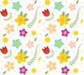 Floral seamless pattern. Flowers repeating texture. Botanical endless background. Vector illustration. Royalty Free Stock Photo