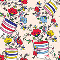 Floral seamless pattern with flowers vase cup for holiday background Royalty Free Stock Photo