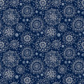 Floral seamless pattern with flowers winter snowflakes Royalty Free Stock Photography