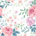 Floral seamless pattern. Garden flower rose and leaves on white