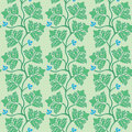 Floral seamless pattern with green decorative leav leaves vector illustration Stock Photo