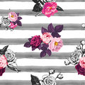 Floral seamless pattern with half colored bunches of flowers and gray hand painted watercolor stripes on background