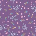 Floral seamless pattern. Hand drawn doodle leaves, brances and flower background. Nature Spring wrapping paper. Vector outline
