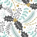 Floral seamless pattern. Hand drawn herbs. Merry Christmas. Winter holiday. Artistic background. Holly