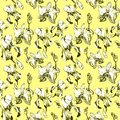 Floral seamless pattern with hand drawn ink iris and orchid flowers on yellow background. Flowers lined up in harmonious