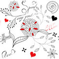 Floral seamless pattern with inscription Stock Photo