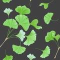 Floral seamless pattern with japanese gingko biloba leaves, vintage pastel green texture, fabric print, wallpaper Royalty Free Stock Photo