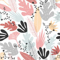 Floral seamless pattern with large elements in soft colors. Royalty Free Stock Photo