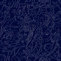 Floral seamless pattern linework ethnic design Royalty Free Stock Photography