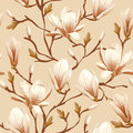 Floral seamless pattern magnolia retro flower vector easy to edit Royalty Free Stock Images