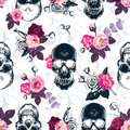 Floral seamless pattern with monochrome human skulls Royalty Free Stock Photo