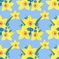 Floral seamless pattern with narcissus texture on dotted