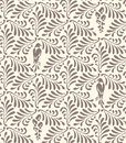 Floral seamless pattern. Ornament with stylized leaves, birds, flowers Royalty Free Stock Photo