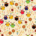 Floral seamless pattern with owl and bird cute colorful Royalty Free Stock Images