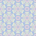 Floral seamless pattern. Pale blue background with beige and pink flower elements Royalty Free Stock Photo