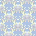 Floral seamless pattern. Pale blue background with beige and pink flower elements