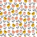 Floral seamless pattern with pastel creative flowers in scandinavian style. Beautiful summer tulips background for postcards,