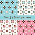 Floral Seamless Pattern in Pastel Pink and Blue