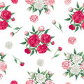 Floral Seamless Pattern. Peonies Background. Pink and White Peon