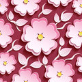 Floral seamless pattern pink 3d sakura and leaves Royalty Free Stock Photo