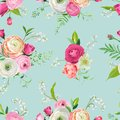 Floral Seamless Pattern with Pink Flowers and Lily. Botanical Background for Fabric Textile, Wallpaper, Wrapping Paper