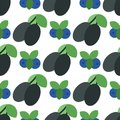 Floral seamless pattern with plums nature fruit harvest vegetarian vitamin sweet berry background vector illustration Royalty Free Stock Photo