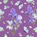 Floral Seamless Pattern with Purple Blooming Iris Flowers and Flying Butterflies. Watercolor Nature Background for Fabric